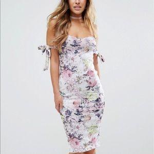 Asos petite off the shoulder floral midi dress